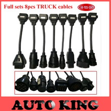 Free ship full set 8pcs truck cables works on vd TCS CDP WOW snooper/ multidiag pro TCS diagnostic tool connector cable in stock(China)