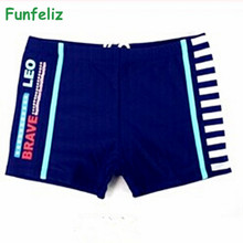 2016 Summer boy trunk 2 colors kid boy swimwear children 5-15 age kids boxer swimsuit boys bathing suit swimming costume(China)