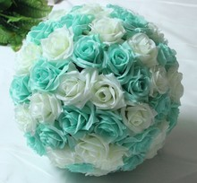 "Silk Rose Flower Balls 8""20cm Diameter Kissing Balls Designs for Wedding Party Shops Artificial Decorative Flowers Tiffany Blue"