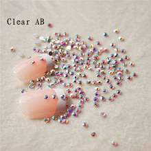 Lowest Price 1440pcs/pack SS3 (1.3-1.4mm) Crystal AB/Clear AB Rhinestones For Nail Art Glue On Non Hotfix Glitter Rhinestones