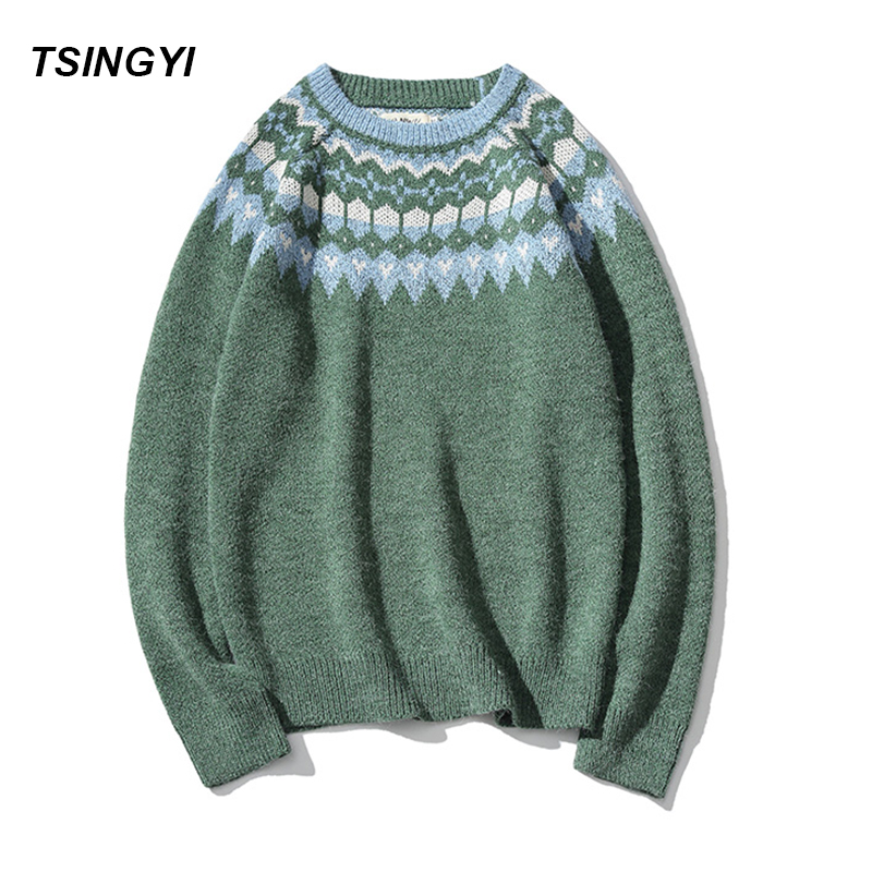 Tsingyi Pullover Man Christmas Sweater Brand Knitted Cashmere Sweater Men Vintage Xmas Beige Green color Snow Mens Sweaters