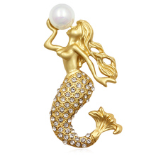 Factory Direct Sale Matte Gold/Silver Crystal Rhinestone Mermaid Brooches with Simulated Pearl for Lady Jewelry Gift(China)
