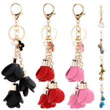Camellia Leather Keychain for Women Flower Tassel Leather Keychain Bag Pendant Car Ornaments Long Key Chain Women Jewelry 2017