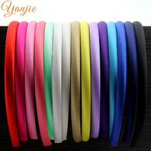 30pcs/lot 10mm Satin Covered Resin Hairbands For Girls Solid Satin Hair Band Kids DIY Headband Satin Head Hoop Hair Accessoires