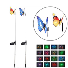 Tanbaby 2pcs/lot Simulation Butterfly Solar Power garden Landscape lights Color Changing Christmas lights for Garden, Lawn, Path(China)