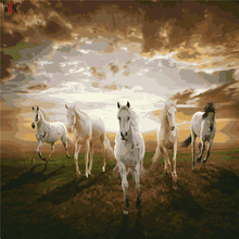 Five Horses Oil Painting Coloring By Number Home Decor DIY Hand Painted Wall Pictures By Numbers Canvas Art PosterQuadros