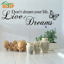 Word Live Your Dream Butterflies Quote Room Decor home decor Art Removable Decal Wall Sticker(China)