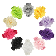 Handmade pure color Elastic hair band Crochet flower turban jewelry accessories