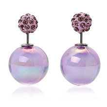 Doreen Box Double Sided Ear Post Stud Earrings Ball Purple AB Color Purple Rhinestone 8mm Dia. 16mm Dia.,1 Pair