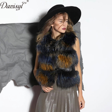 Luxury Women Winter Nature Real Raccoon Fur Vest Coat Spring Sleeveless Multi 7 color Fur Vest Wasitcoat Outwear top quality