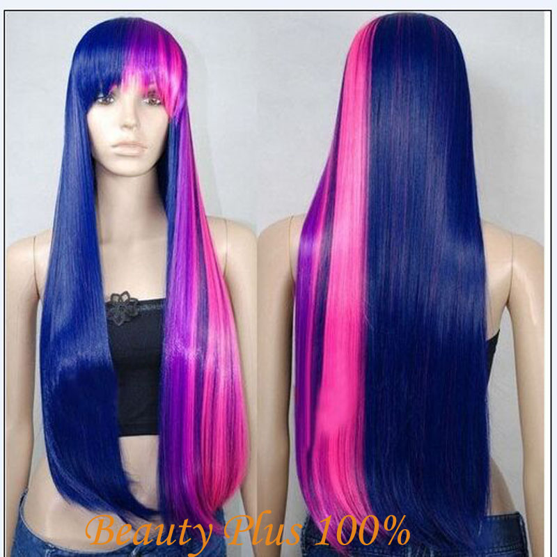 Fashion Little Pony Twilight Sparkle Long straight Mixed Purple/Pink Anime Cosplay Wig Synthetic Blue Wig Party Perucas Peruca<br><br>Aliexpress
