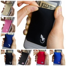 Elastic Stretchy Lycra Cell Phone Wallet Case Credit ID Card Holder Pocket Stick On 3M Adhesive Universally fits most Cell Phone