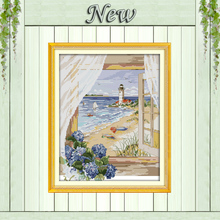 Sea view outside the window beach flowers Counted print on canvas DMC 14CT 11CT Cross Stitch Needlework kits Embroidery Sets DMS