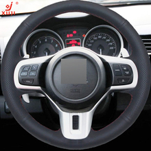 XUJI Black Leather Hand-stitched Car Steering Wheel Cover for Mitsubishi Lancer 10 EVO Evolution