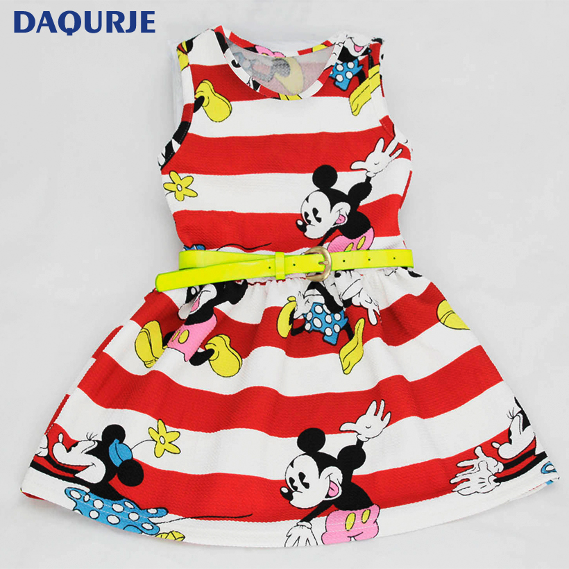 Hot Striped girl dress cartoon mickey Minnie girls dresses 2017 summer kids Casual girls clothes+belt vestidos children clothing(China (Mainland))