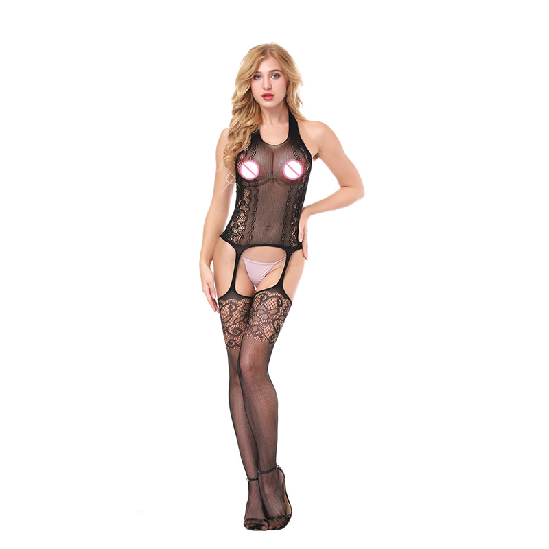 Hot Selling Perspective Sexy Lingerie Open Crotch Bodystockings Exotic Apparel Lace Bodysuit Fishnet Women Erotic Lingerie D8991