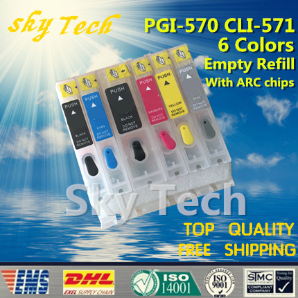 6PK Empty Refillable Ink Cartridges suit for PGI570 CLI571, Suit for canon PIXMA MG5750 MG6850 MG7750 etc  ,with ARC chips<br>