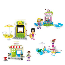 Girl Series Friend Pizza shop cold store ice cream shop Kid Baby Toy Building Blocks Compatible lepin Sets Model Toys Mini Brick
