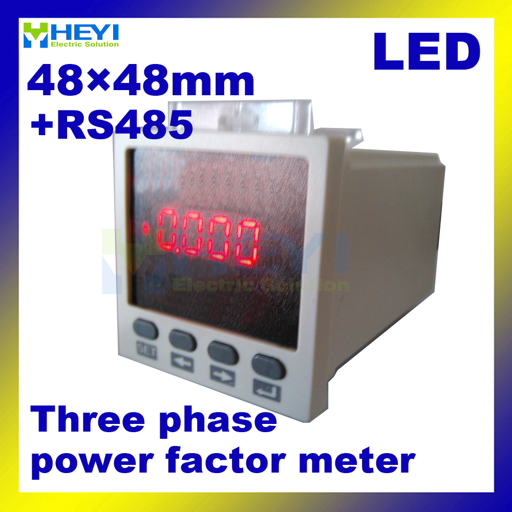 48*48 mm LED power factor indicator Three phase digital power factor meter COS meter with RS485<br>