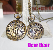 12pcs/lot Vintage Bronze Peacock Pocket Watch Necklaces.free shipping