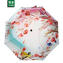 Creative Oil Painting Umbrella 3 Folding Flowers Painting Rain Umbrella Luxury Fancy Brand Fashion Parapluie Women's umbrella