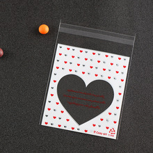 100pcs/set Clear Self-adhesive Cookies Bags Big Heart Print Candy Snack Bags Transparent OPP PlastIc Gift Packing Bags