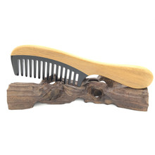 L-K909 Green Sandalwood inlaid Buffalo horn Boutique Wide-Toothed Comb fashion comb Massage hair brush Hair Care Accessories