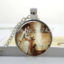 1 pc The Magic Circle art pendant, Halloween Witch necklace, Glass Dome photo Wiccan jewelry HZ1