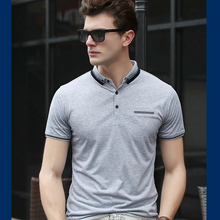 2017 men's business casual heat sale of new short-sleeved T-shirt men's t-shirts casual mercerized cotton short-sleeved T-shirt(China)