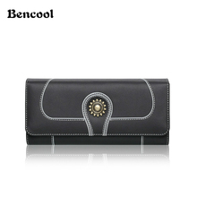 Bencool New Sale Sunflowers Pattern Design Women Long Hasp Wallets High Quality Head Layer Cowhide Material Elegance Lady Purse(China)