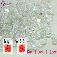 Buy 1 and get 1 free total 200pcs Colorful 4mm Bicone Crystal Beads Glass Beads Loose Spacer Beads bracelet Jewelry Making DIY(China)