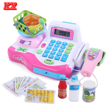 Children Shopping Cash Register Machine with Weighing Platform Scanner Food Cashbox Educational Toys Set for Girls Pink Red D50(China)