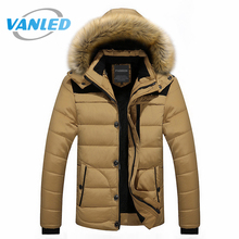 4XL Plus Size 2017 Mens Coats Parkas Fashion Warm Winter Parka Men Clothing Overseas Fur Hood Male Jacket Cold Casual Parks(China)