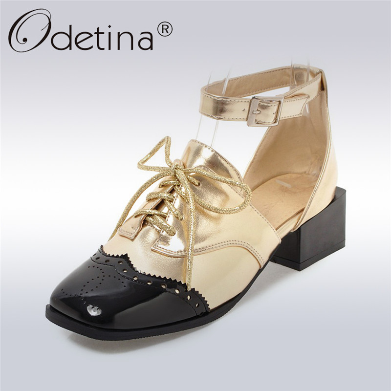 Odetina 2018 New Fashion Ankle Strap Pumps Women Cross Tied Square Toe Casaul Shoes Female Square Heels Pump Shoes Big Size 46<br>
