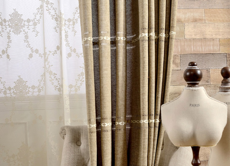 2018 New Solid Jacquard Curtains Coffee Decorative Living Room Bedroom half-shade High Precision Hemp woven Thicken Custom size 14