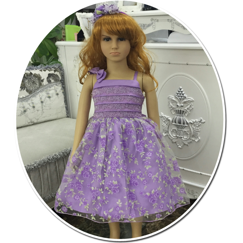 Free Shipping  2018 Style 2-10 Years Girl Party Dresses Print Purple Kids Evening Gowns Cheap Price Formal Child Dress With Lace<br>