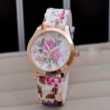 Fashion Women Quartz Watch Silicone Classic Floral Pattern Gold Dial Ladies Casual Dress Wristwatches Relojes 2017 Cheap Clock