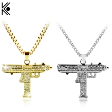Fashion Gold Color Uzi Gun Pendant Necklace Men Alloy Full crystal Bling Submachine chain Hip Hop Cyclist Accessories