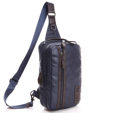 2015 Black Blue Leather Men's Chest Pack Causal Chest Bag Men Messenger Bag Man Mobile Bag Chest pack Shoulder Bag(China)
