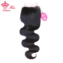 "Queen Hair Products Body Wave Lace Closure 8""-20"" Brazilian Virgin Hair Free Part 100% Human Hair Natural Color Free Shipping(China)"