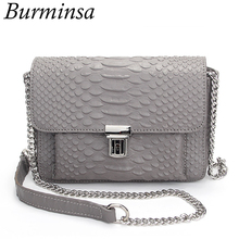 Burminsa Brand Snakeskin Chain Crossbody Bags Genuine Leather Crocodile Designer Hand Bags High Quality Shoulder Bags For Women