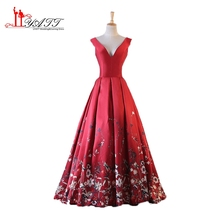 Floral Flowers Pattern Print Prom Dresses 2017 New Robe de Soiree Open Back Lace Top Formal Evening Dress Long Party Gown MN180