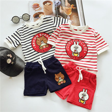 Teddy Bear and Hoodlum Rabbit 2pcs Baby Boys Girls Suit Striped Cotton T-shirts And Shorts Children Clothing 2-8t