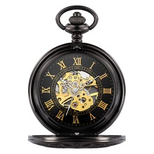 Top Antique Skeleton Gold Roman Numerals Dial Black Alloy Case Mechanical Hand Wind Long Fob Chain Clock Men Pocket Watch /W029B