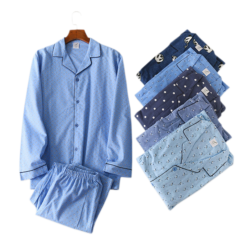 Winter simple 100% cotton pajamas sets men sleepwear plus size Japanese casual long-sleeve trousers pyjamas men Hot sale