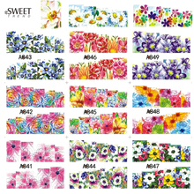 1 Sheet Sweet Trend Blooming Flowers Full Pattern Nail Art Water Transfer Stickers Beauty Wraps Nail Tips Decals Decor A841-852(China)