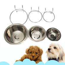 2017 Pet Dog Cat Bowl Can Hang Stationary Dog Cage Bowl Stainless Steel Hanging Bowl Three Dimension Stationary Dog Bowl 2A0290(China)