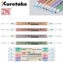 ZIG Kuretake Emboss Twin Tip Markers Writer Calligraphy Scroll & Brush Fine & Chisel Water-based ink Odourless Japan