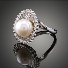 Fashion simple hollow crystal ring temperament all-match natural pearl lovers ring,aneis feminino,couple rings,gift,jewellry