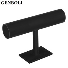GENBOLI Black Velvet Jewelry Display Organizer Stand Holder Packaging Bracelet Chain Watch Holder T Bar Rack